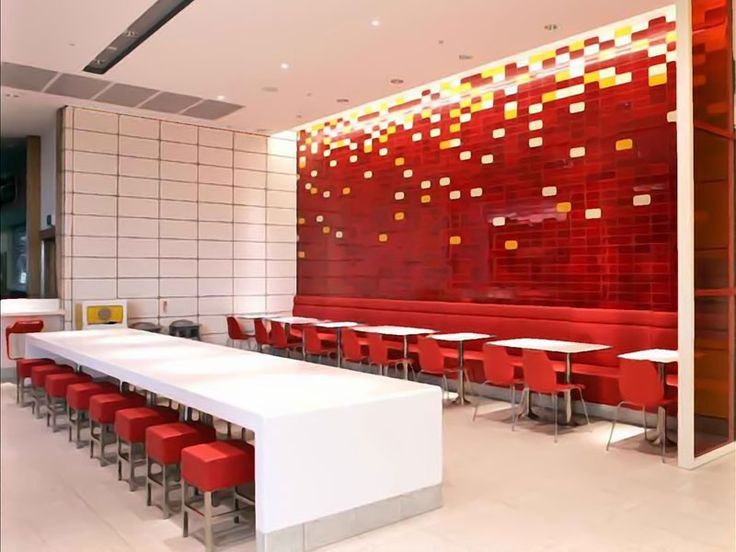 Mcdonalds england designed by shh red wallpaper for Interior decoration 1990s