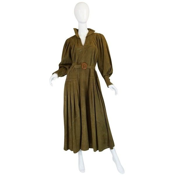 1970s Jean Muir Billowing Sleeve Perforated Olive Suede Dress ❤ liked on Polyvore featuring dresses, perforated dress, olive green dresses, military green dress, suede leather dress and jean muir dress