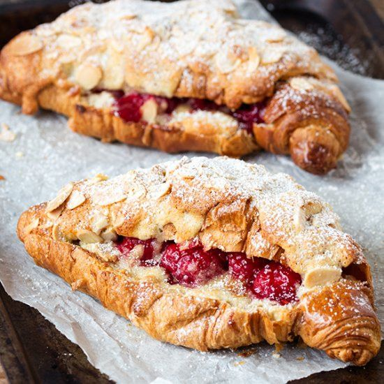 Raspberry and Almond Croissants. Croissants filled and topped with home-made alm…