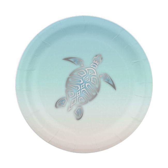 Silver Sea Turtle Beach Style Paper Plate Zazzle Com Silver
