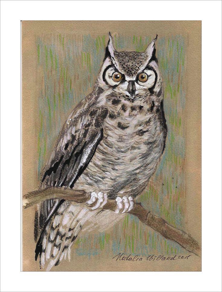 Original Owl animals Birds fantasy home decor mixed media drawing  #ContemporaryArt