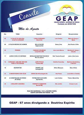 Calendário de Palestras do GEAP para o Mês de Agosto - Santo Antônio de Pádua – RJ - http://www.agendaespiritabrasil.com.br/2015/07/29/calendario-de-palestras-do-geap-para-o-mes-de-agosto-santo-antonio-de-padua-rj/