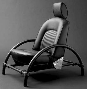 """After leaving work Ron immediately went to a scrap yard and took 2 1990 Rover seats and made the iconic Rover Chair! """"...out of boredom, he headed to a scrap yard nearby and yanked two leather seats out of a Rover automobile, and made armchairs out of them. Years later, those same armchairs, the ones he yanked out in a dirty scrap yard with a few tools, were to be installed and shown in an exhibit, and Arad was not allowed to touch them without white gloves"""""""