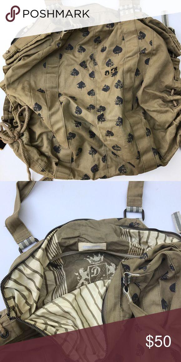 """Diesel tote bag Diesel tote bag, khaki color, approx 20x20. Straps approx 12"""".Zipper closure, zip pocket inside EUC Diesel Bags Hobos"""