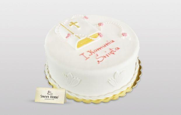 Biały tort na Komunię