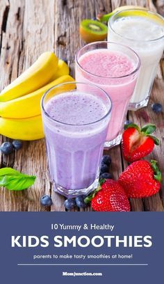 Smoothie Recipes for Kids : Smoothies are just great, as they are so refreshing, loaded with the benefits of vitamins and minerals. They boost up the immunity and energy levels of your #kids Here are some smoothie recipes which you can try. Have a look:
