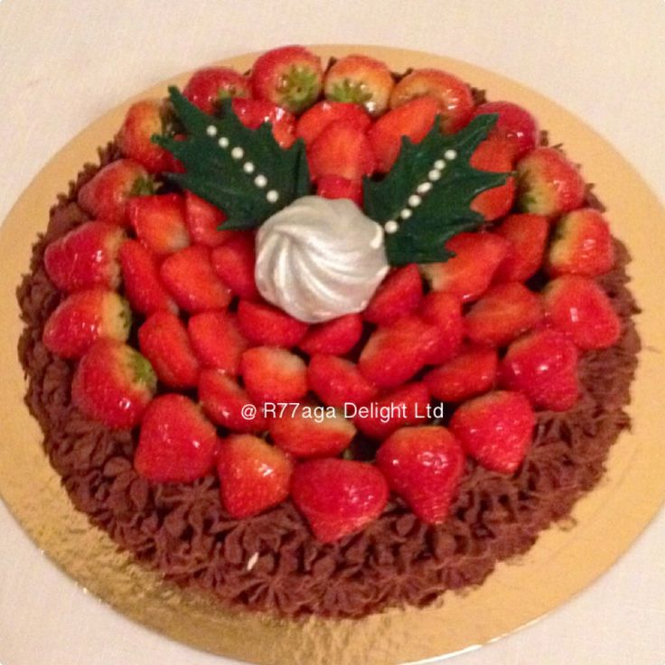 Chocolate sponge cake with Baileys syrup topped with fresh strawberries http://facebook.com/R77aga