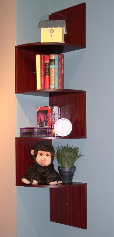 concepts wall mounted corner shelving unit in cherry