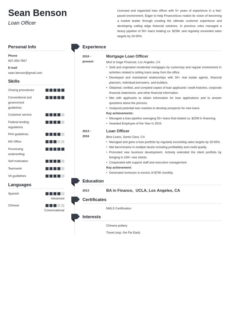loan officer resume example template muse  job resume
