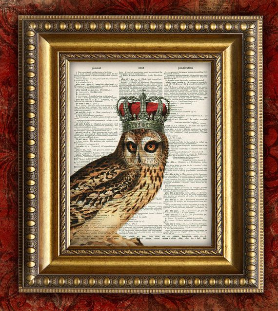ROYAL OWL w CROWN Vintage Art Print on Dictionary by EncorePrints, $10.00