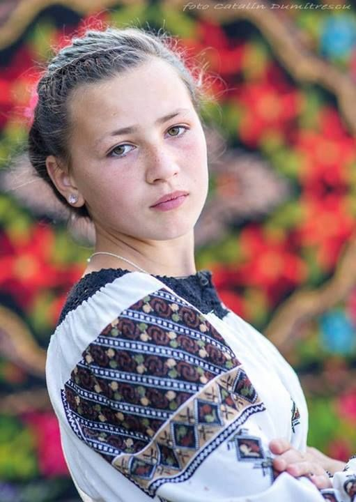 Romanian girl in traditional blouse