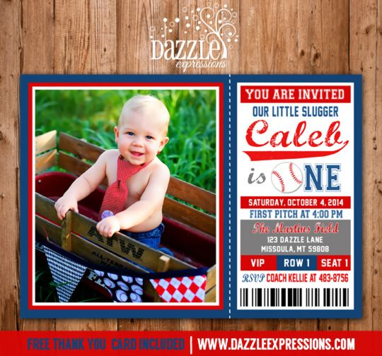 Printable Baseball Ticket Birthday Photo Invitation | Boy First Birthday Party Ideas | Rookie Year | FREE thank you card included | Sports | Red and Navy | DIY | Digital File | Matching Party Package Available! Banner | Cupcake Toppers | Favor Tag | Food and Drink Labels | Signs | Candy Bar Wrapper | www.dazzleexpressions.com