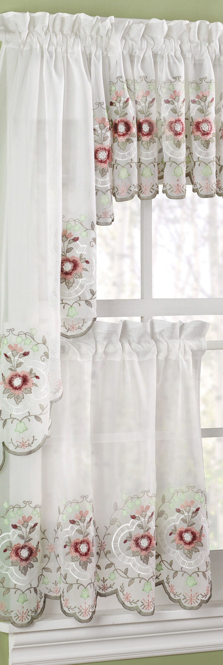 Embellish your kitchen window with the Gisela Rose tier curtain. #AnnasLinens #Curtains #Kitchen