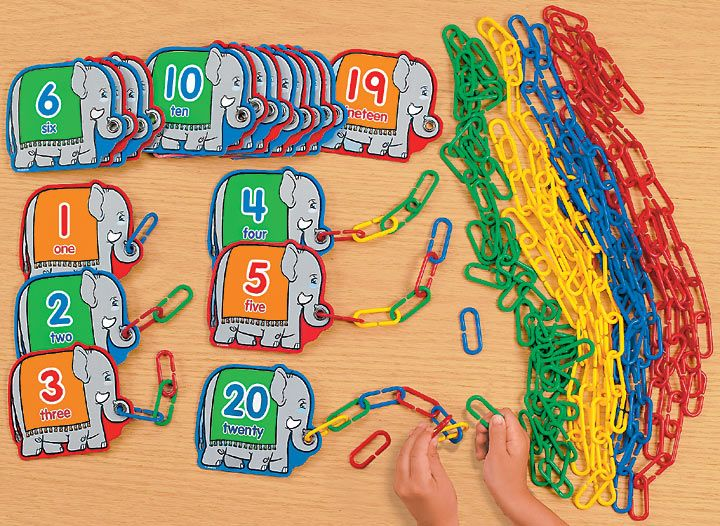 Count and Link - It would be cool to make a center kind of like this, but not with paper clips.