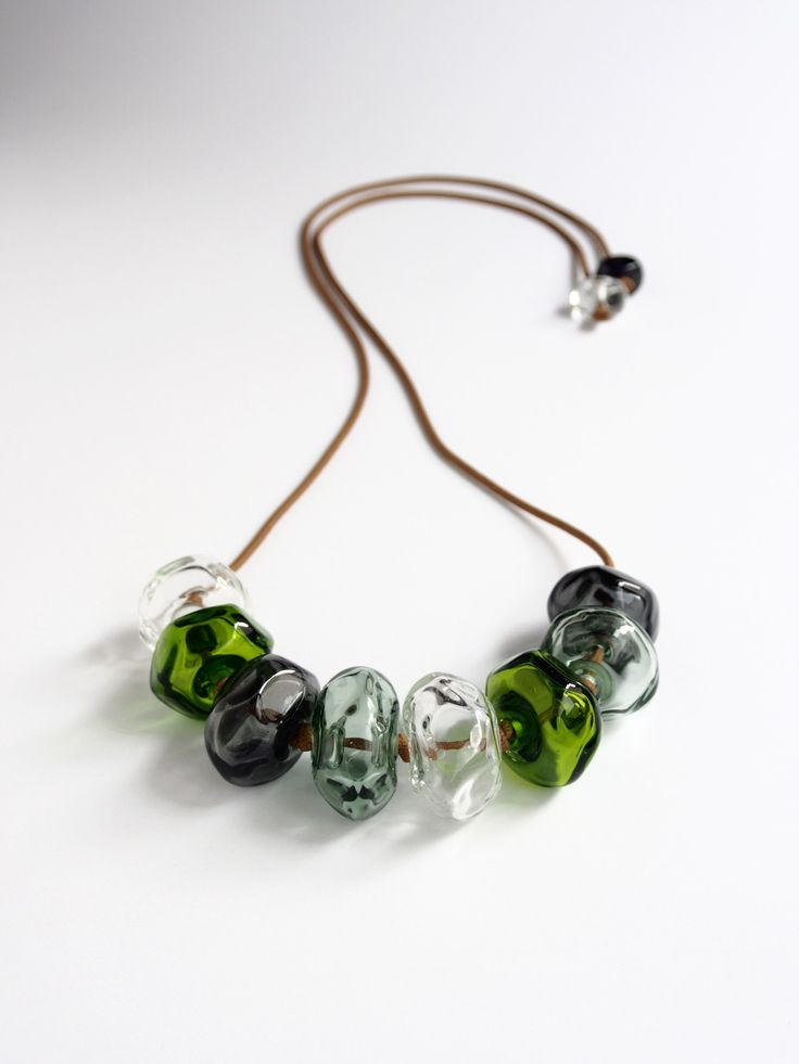 Avril Bowie - glass necklace in green and grey - all hand crafted glass work