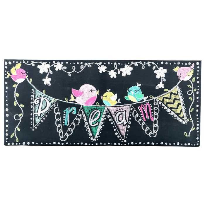 Let your bedroom décor reflect your fun, quirky personality with this Dream Chalkboard Canvas Wall Art with Birds & Banner! This fun canvas wall art features chalkboard-style doodles, dots, and text.