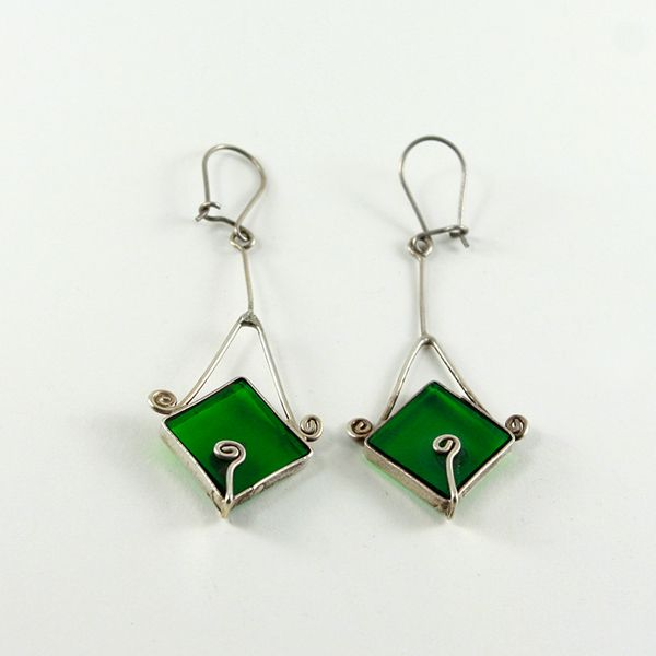 Kare Figürlü Küpe (Square Shaped Glass Earrings) - ZFRCKC Jewelry Design - www.zfrckc.com