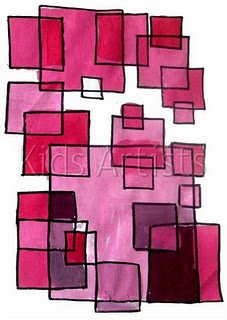 Simple project:  Monochromatic painting with geometric shapes-practice tints, shades and tones