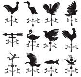 wind vane : Hand drawn set of different weather vanes