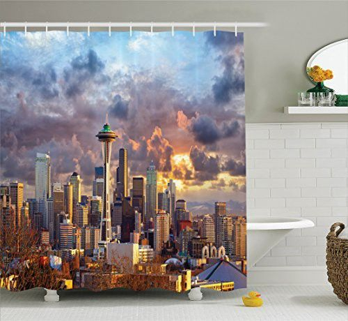 Ambesonne Apartment Decor Collection, Seattle Skyline at Sunset WA USA Sun Lights Through Dramatic Clouds Scene Pattern, Polyester Fabric Bathroom Shower Curtain, 84 Inches Extra Long, Grey Blue Ivory