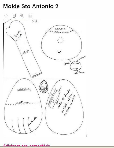 Moldes Para Artesanato em Tecido: Santo Antônio! de tecido com molde