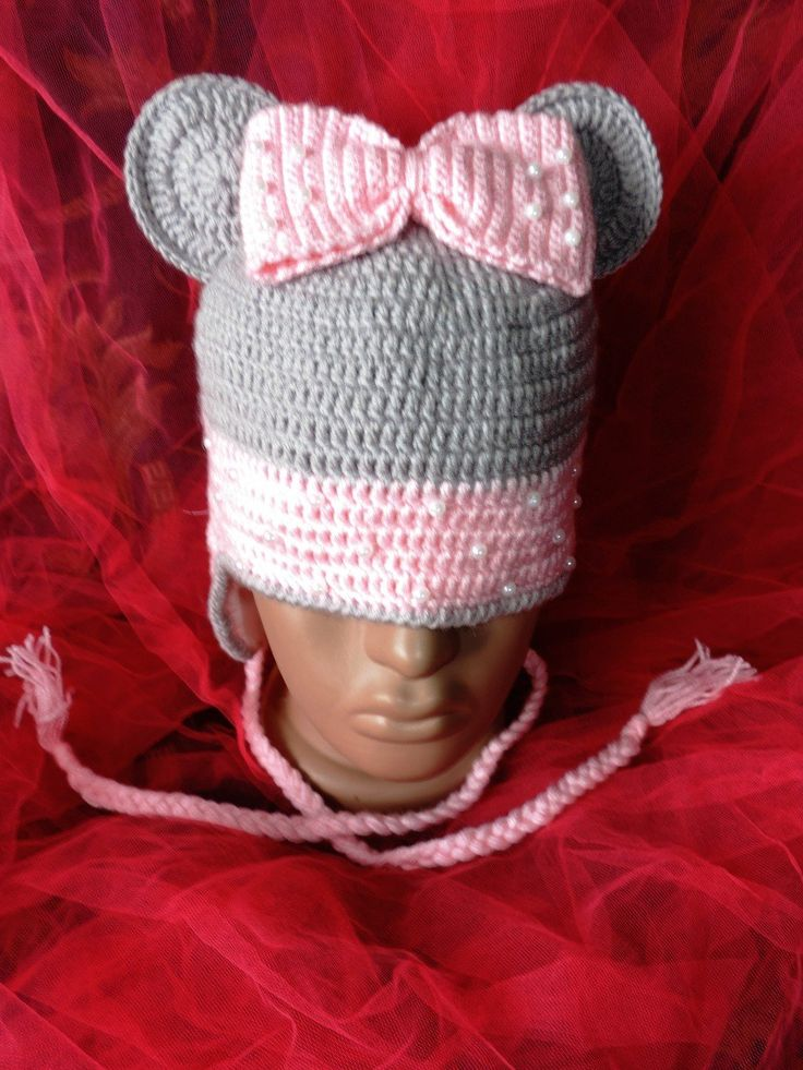"""Вязаная шапочка для девочки """"Минни Маус"""" ручной работы - купить или сделать на заказ. Магазин рукоделия Крафтбург   арт.:7491"""