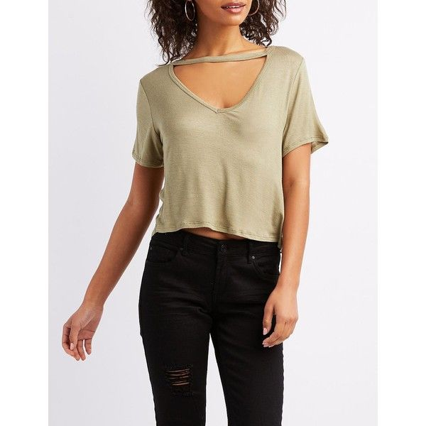 Charlotte Russe Choker Neck Cut-Out Cropped Tee ($12) ❤ liked on Polyvore featuring tops, t-shirts, green, short crop tops, brown crop top, crop tops, green crop top and brown t shirt