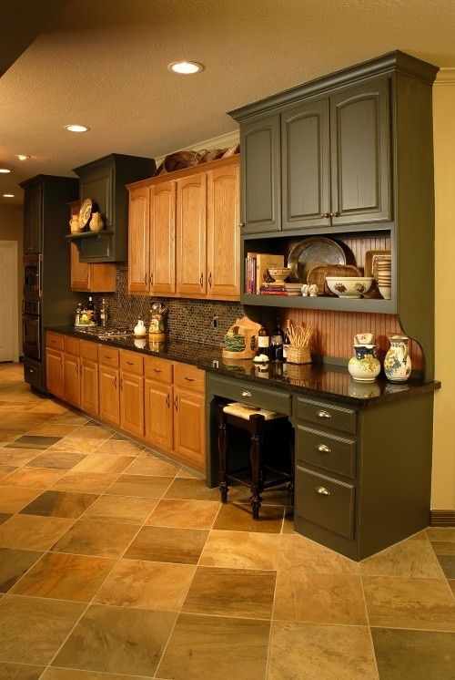 Best Oak Cabinet Workarounds Images On Pinterest Kitchen - Two color kitchen cabinet ideas