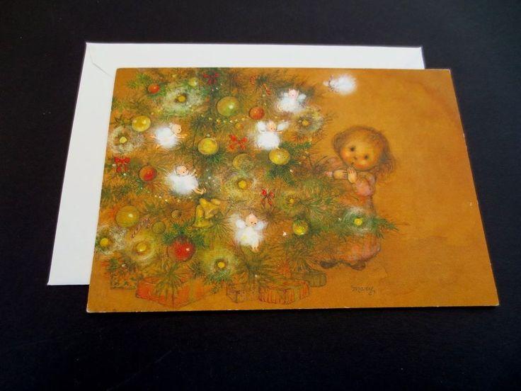 #J715- RARE Mary Hamilton Xmas Greeting Card Child Seeing Angels on Holiday Tree