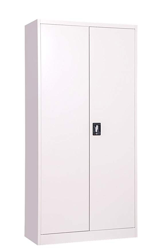 Grey Steel Storage Cupboard 2 Door Tall Lockable Bookcase Filing Cabinet Unit 1850mm Heavy Duty Shelving X 4 Cupboard Storage Storage Tall Cabinet Storage