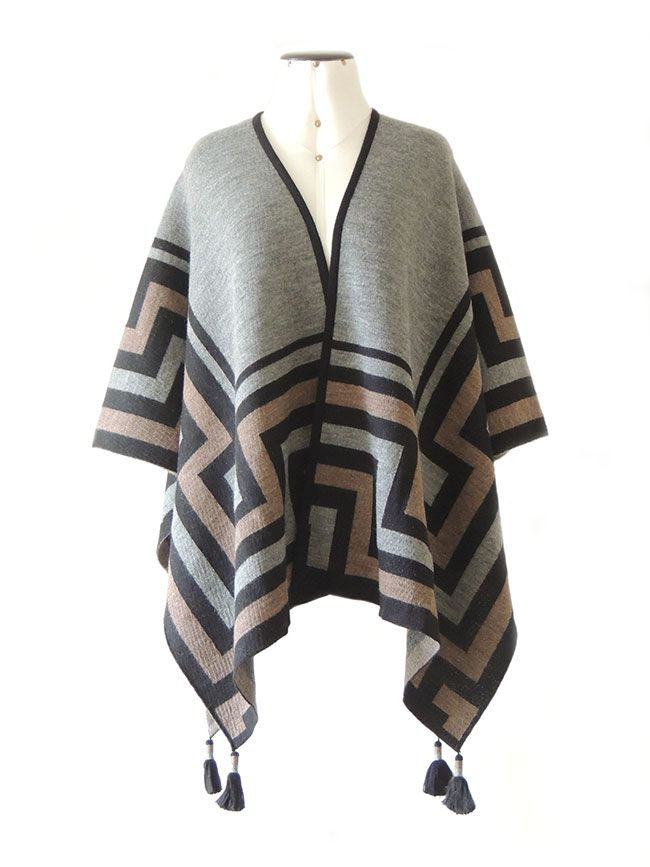 Ruana wrap, black-grey-sand, with graphic design  in 100%  soft  baby alpaca. with 4  tassels