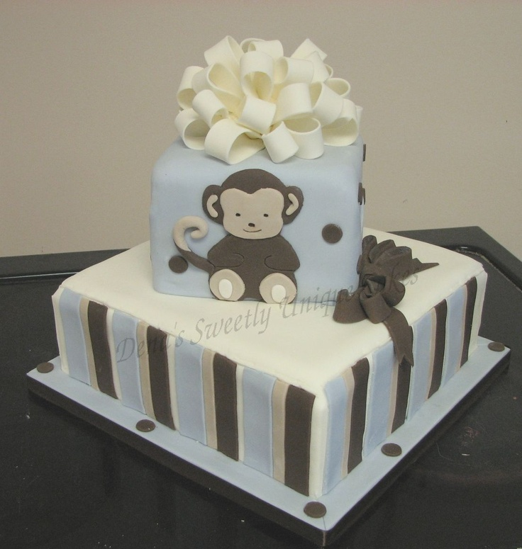 Monkey Baby Shower Cake.... in girl colors of course!