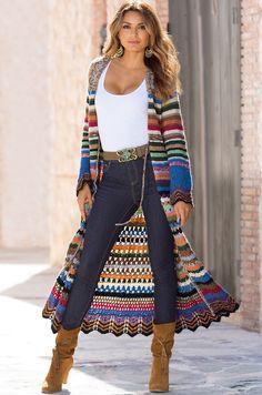 Boston Proper Multicolor Duster Sweater Coat