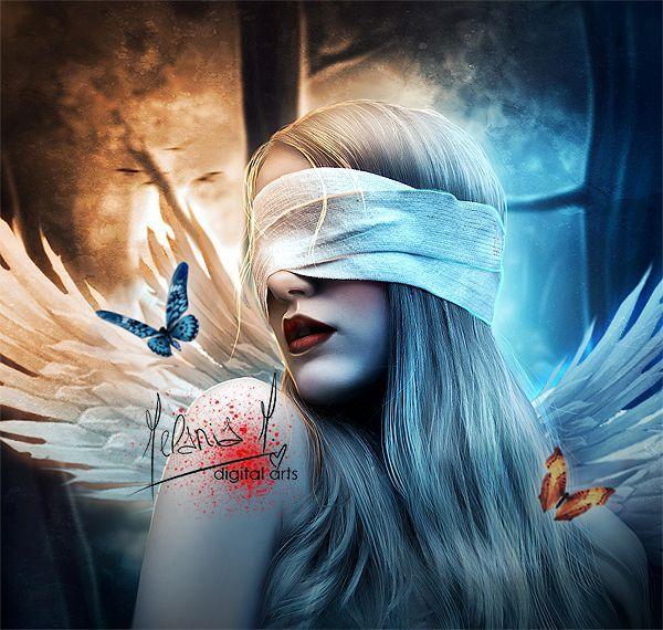 Dementia by EvanescentAngel666.deviantart.com on @deviantART: Evanescentangel666 Artists, Art Illustrations, Angel Wings, Butterflies Kiss, Digital Art, Blinds Angel, Art Digital, Melania Morabito, Art Photos