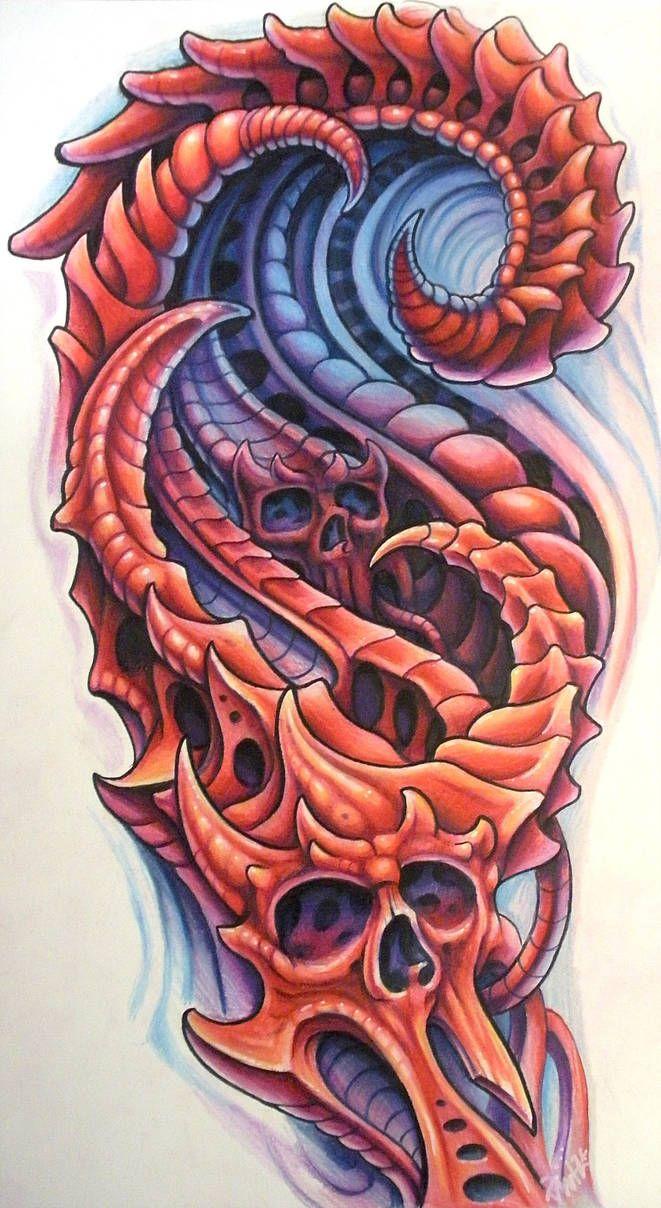 Biomechanical Red By Jwheelwrighttattoos Bio Organic Tattoo Organic Tattoo Biomechanical Tattoo Design