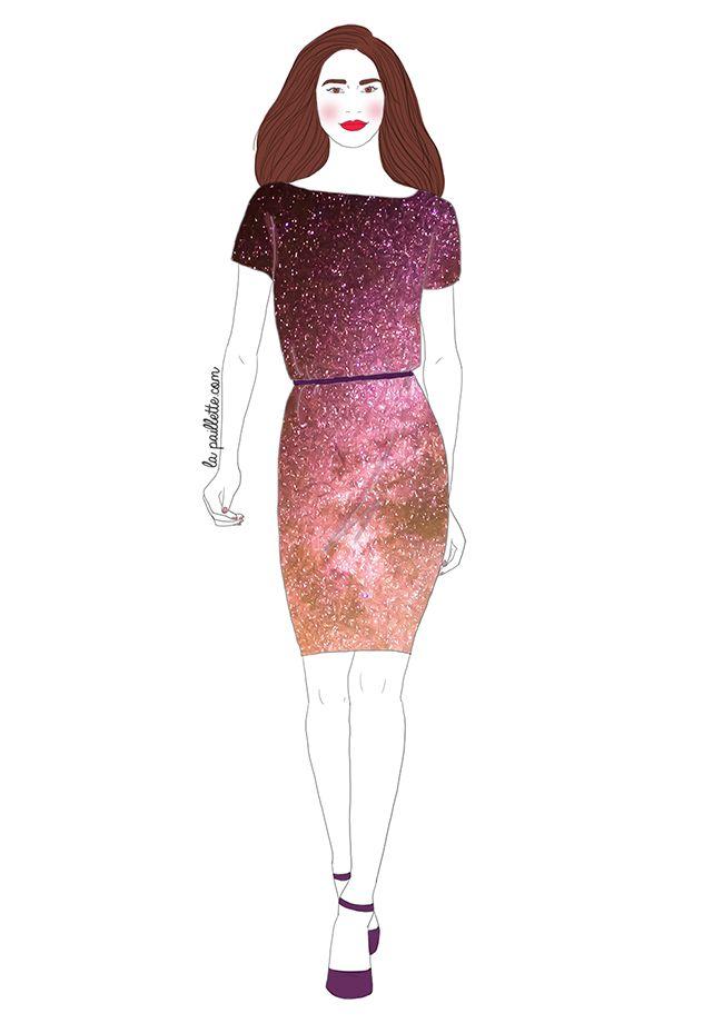 fashion illustration mode ootd cosmos stars étoiles galaxy galaxie robe model drawing dessin