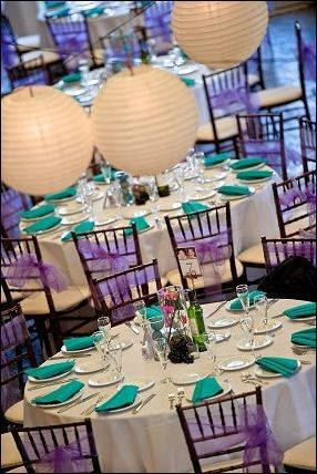 purple and turquoise wedding decorations 11