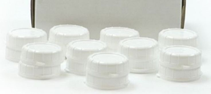 12 (dozen) NEW REPLACEMENT CAPS FOR GLASS MILK BOTTLES WHITE PLASTIC REUSABLE CHECK SIZE. Replacment Snap on Caps for the 48 MM milk bottles by They Dairy Shoppe, Libbey, and StanPac.