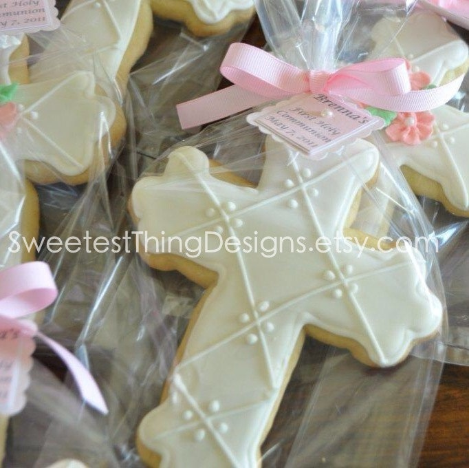 Cross Cookie Favor large / First by SweetestThingDesigns on Etsy