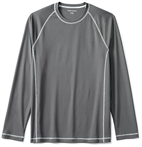 Amazon Essentials Men's Long-Sleeve Quick-Dry UPF 50 Swim Tee, Charcoal, Large:   A relaxed-fit swim tee made of smooth quick-dry fabric features raglan seams and a crewneck for unrestricted coverage.