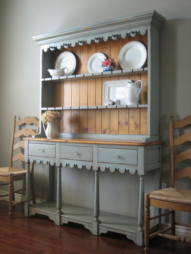 25 best painted hutch ideas on pinterest hutch makeover for Painted dining room furniture ideas