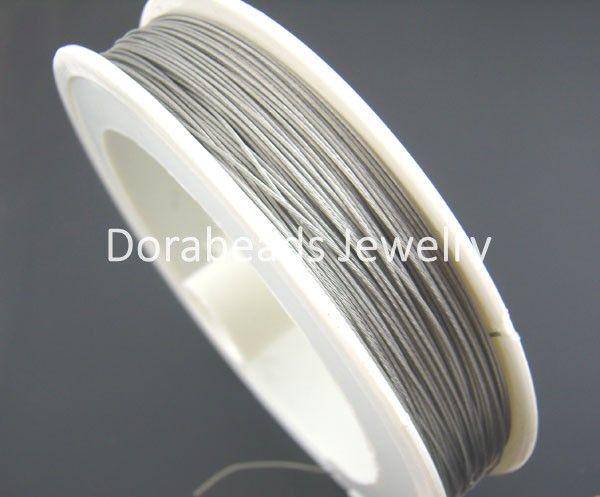 DoreenBeads 1Roll 80M Silver Tone Beading Wire 0.35MM (B01402), yiwu