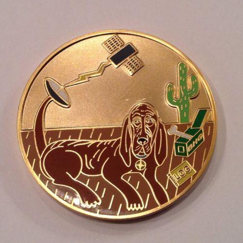 The-Blood-Hound-Gang-Geocoin-Satin-Gold