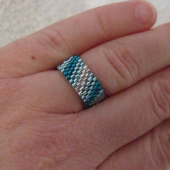 Blue SEED BEAD Ring - Double Diagonal Stripes