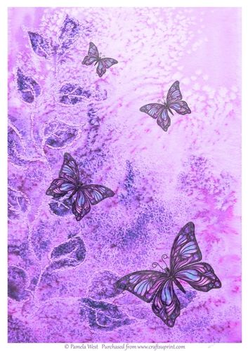 Lilac Butterflies background paper. Made with one of my watercolour backgrounds with added butterflies