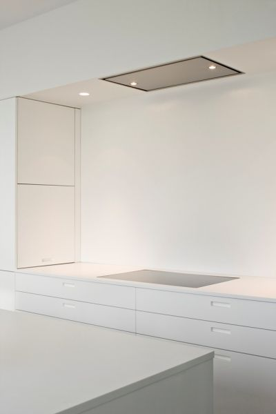Pure and sleek, white kitchen by Boffi