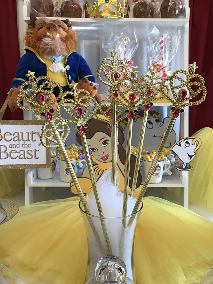 Beauty and the Beast Princess theme party supplies to help you create the perfect birthday celebration. Rose trimmed yelow Tutus, Tiaras, Wands, Crafts, Games and so many more ideas are what you will find at My Princess Party to Go.