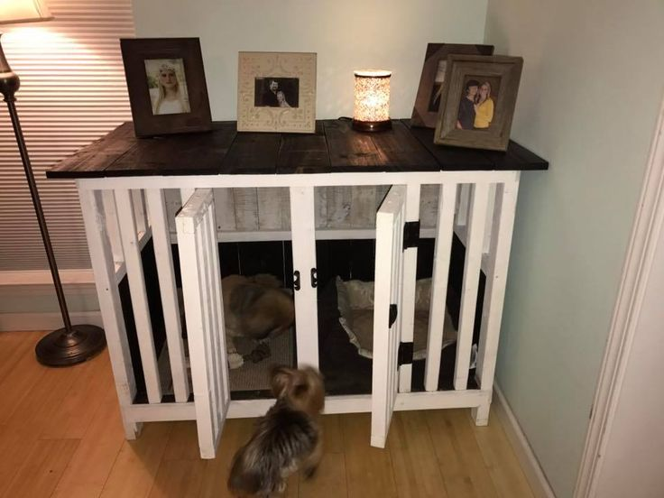 Best 25 dog crate furniture ideas on pinterest puppy for Pallet dog crate