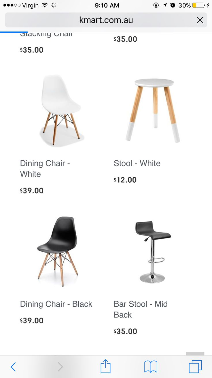 Both black and white chairs, paired with wood table KMART
