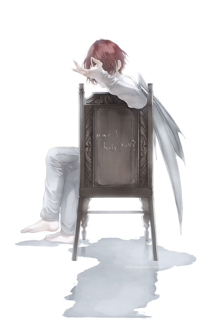Re°, Crossed Legs, Chair, Text: URL, Sitting On Chair